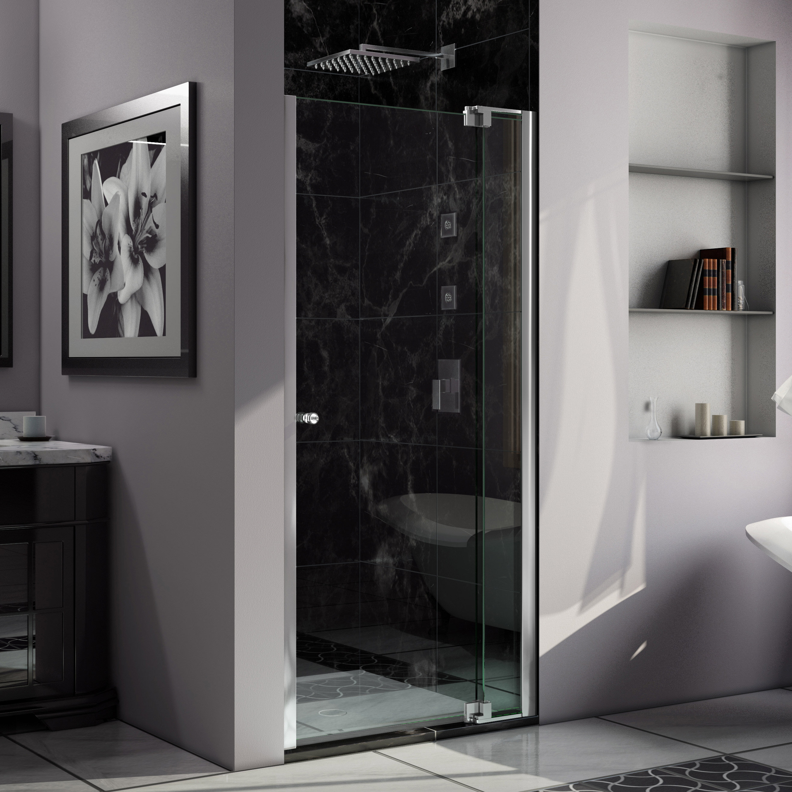 Dreamline Allure 36 W X 73 H Pivot Frameless Shower Door Reviews Wayfair