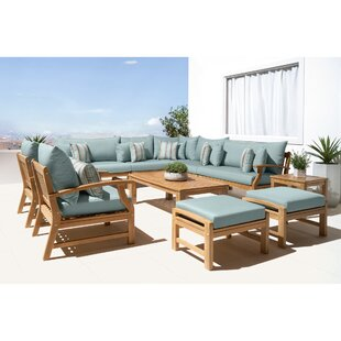 Mcclellan 11 Piece Sunbrella Sectional Seating Group with Cushions by Rosecliff Heights