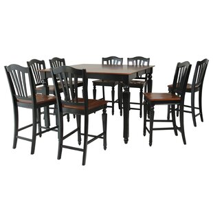 Onoway 9 Piece Counter Height Extendable Solid Wood Dining Set