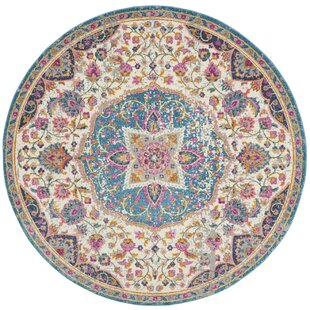 Bradburn Bohemian Oriental Ivory/Pink/Blue Area Rug by Bungalow Rose