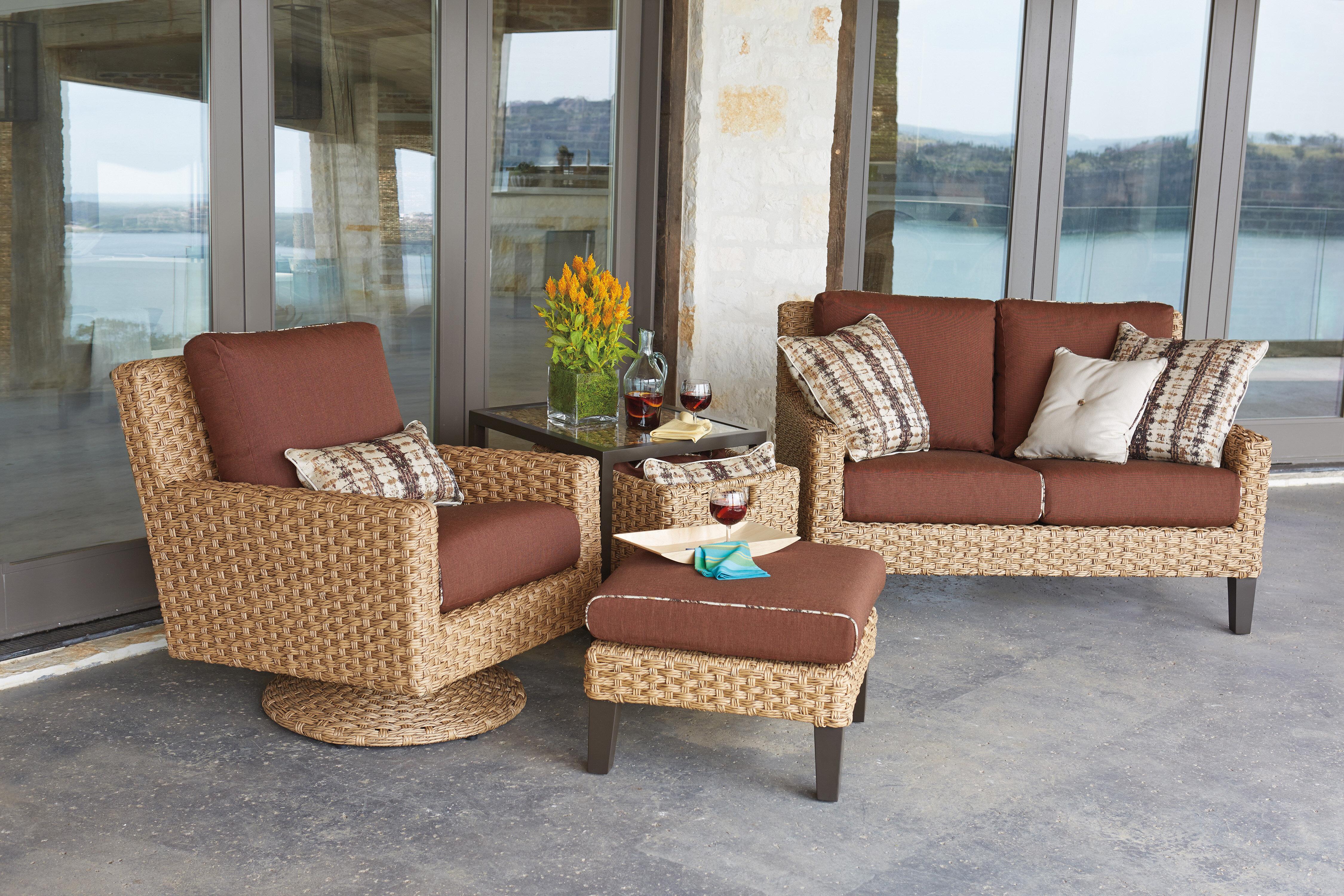Woodard Mona Deep Seating Group With Cushions Wayfair