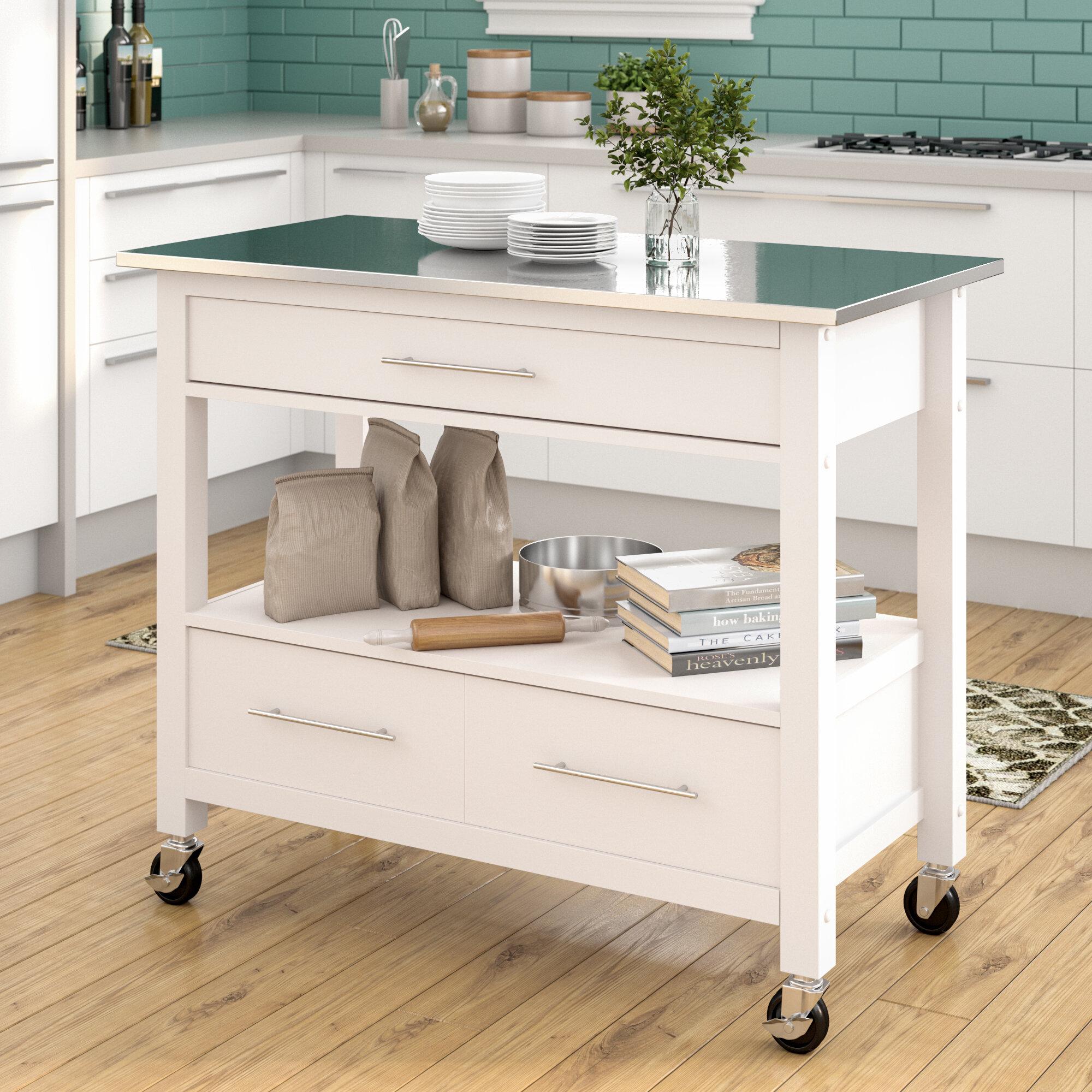Latitude run monongah rectangular kitchen cart with stainless steel top reviews wayfair