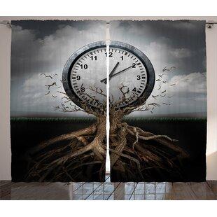 Toi Clock Graphic Print and Text Semi-Sheer Rod Pocket Curtain Panels (Set of 2) by Latitude Run
