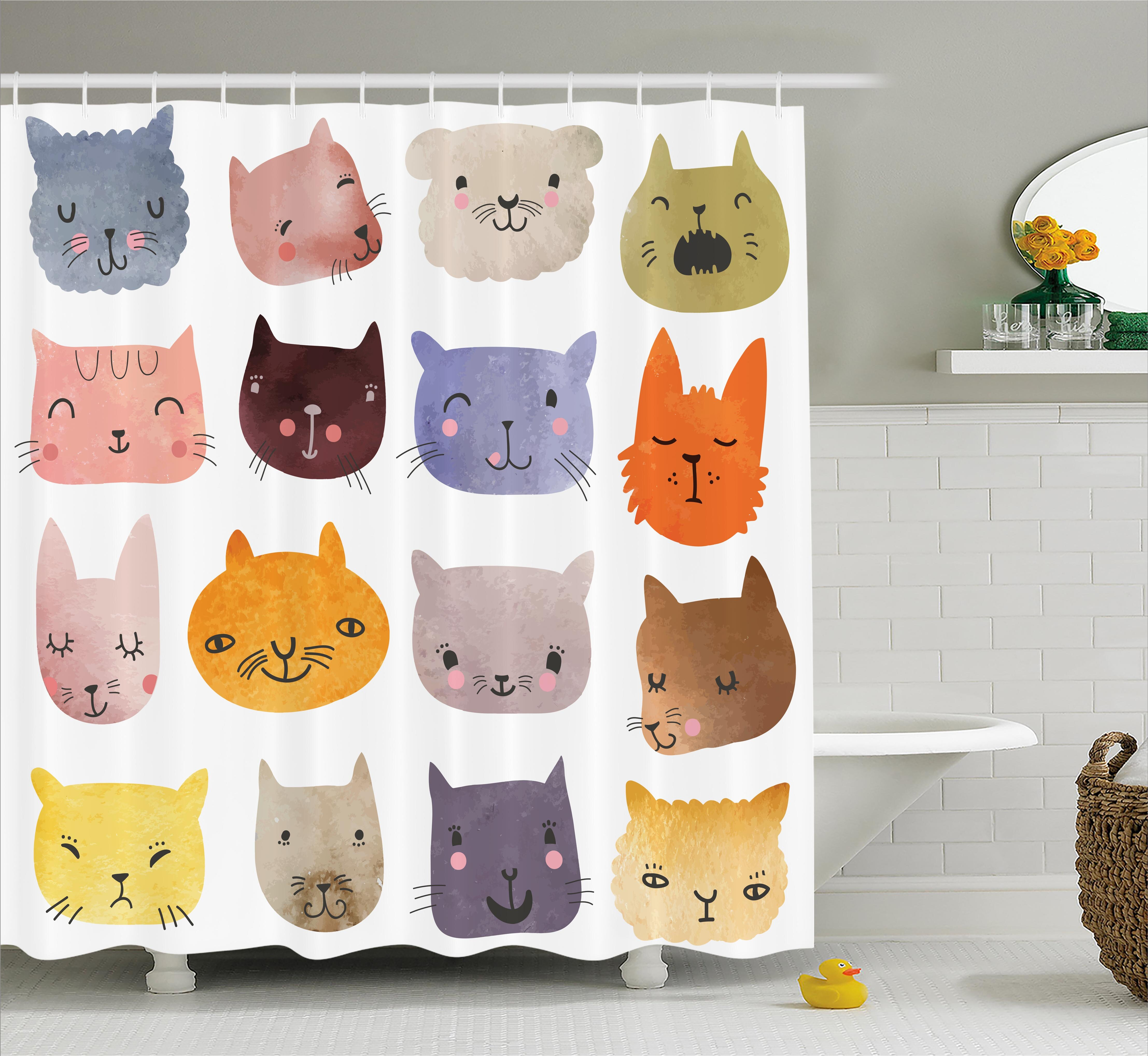 Lottie Colorful Humor Fun Cat Shower Curtain Hooks