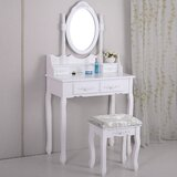 Madrina Makeup Vanity Set with Stool and Mirror by Charlton Home®