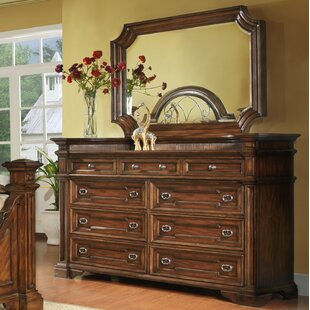Pinehurst 9 Drawer Double Dresser with Mirror