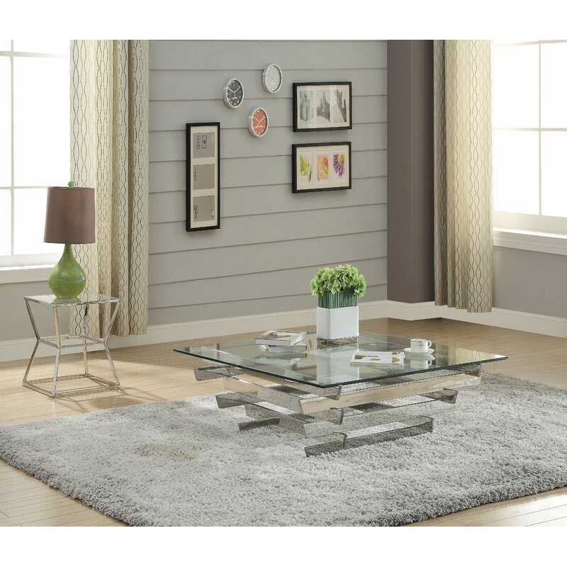 Wrought Studio Mascorro Tempered Glass 2 Piece Coffee Table Set Wayfair