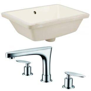 Ceramic Rectangular Undermount Bathroom Sink with Faucet and Overflow by Royal Purple Bath Kitchen
