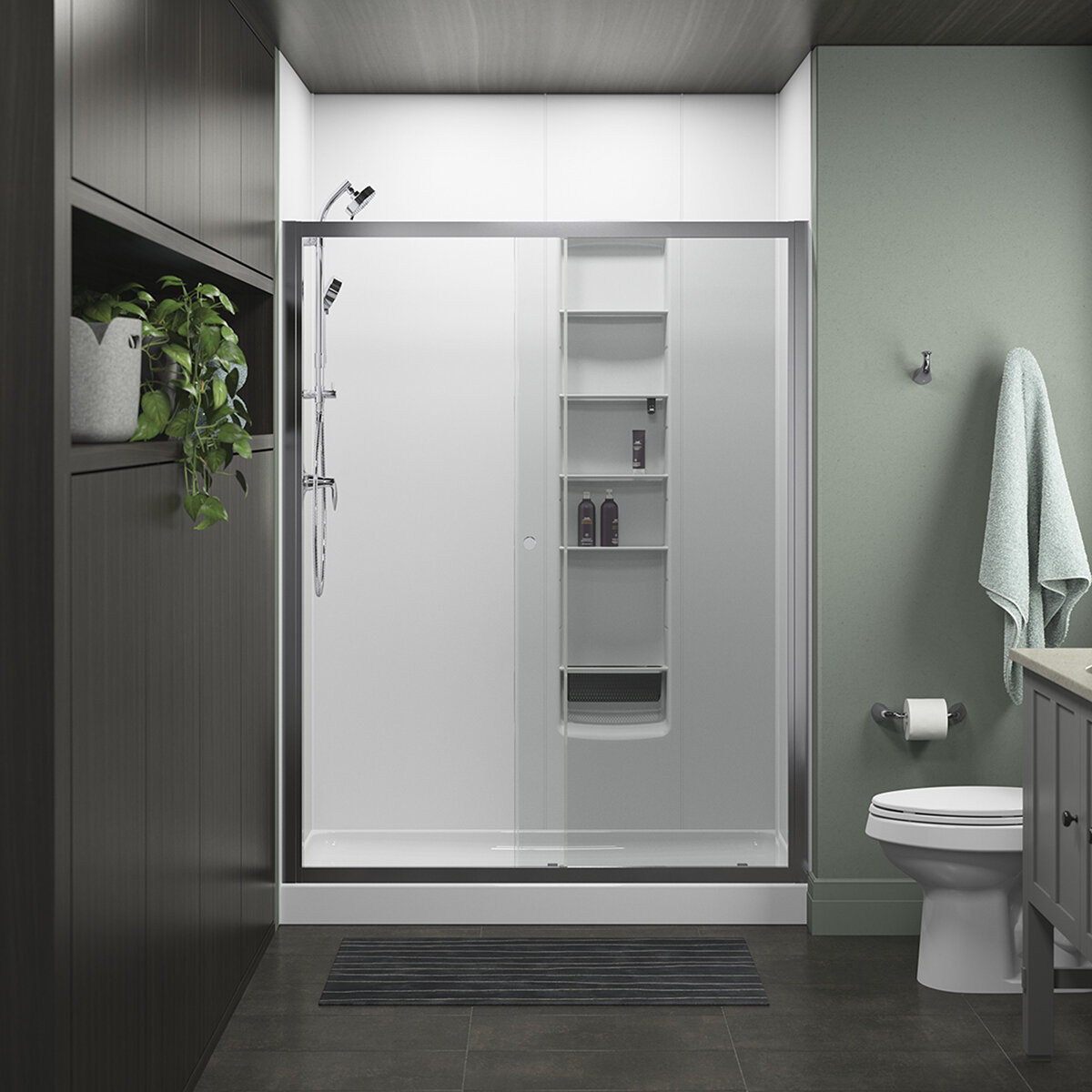 Whiston 60 In X 74 7 8 In Frameless Sliding Shower Door In Silver Frame Finish With Smooth Clear Glass Texture