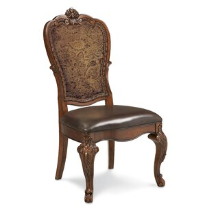 Brussels Genuine Leather Upholstered Dining Chair (Set of 2) by Astoria Grand