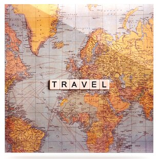 World travel wall art wayfair world travel map graphic art print on metal gumiabroncs Image collections