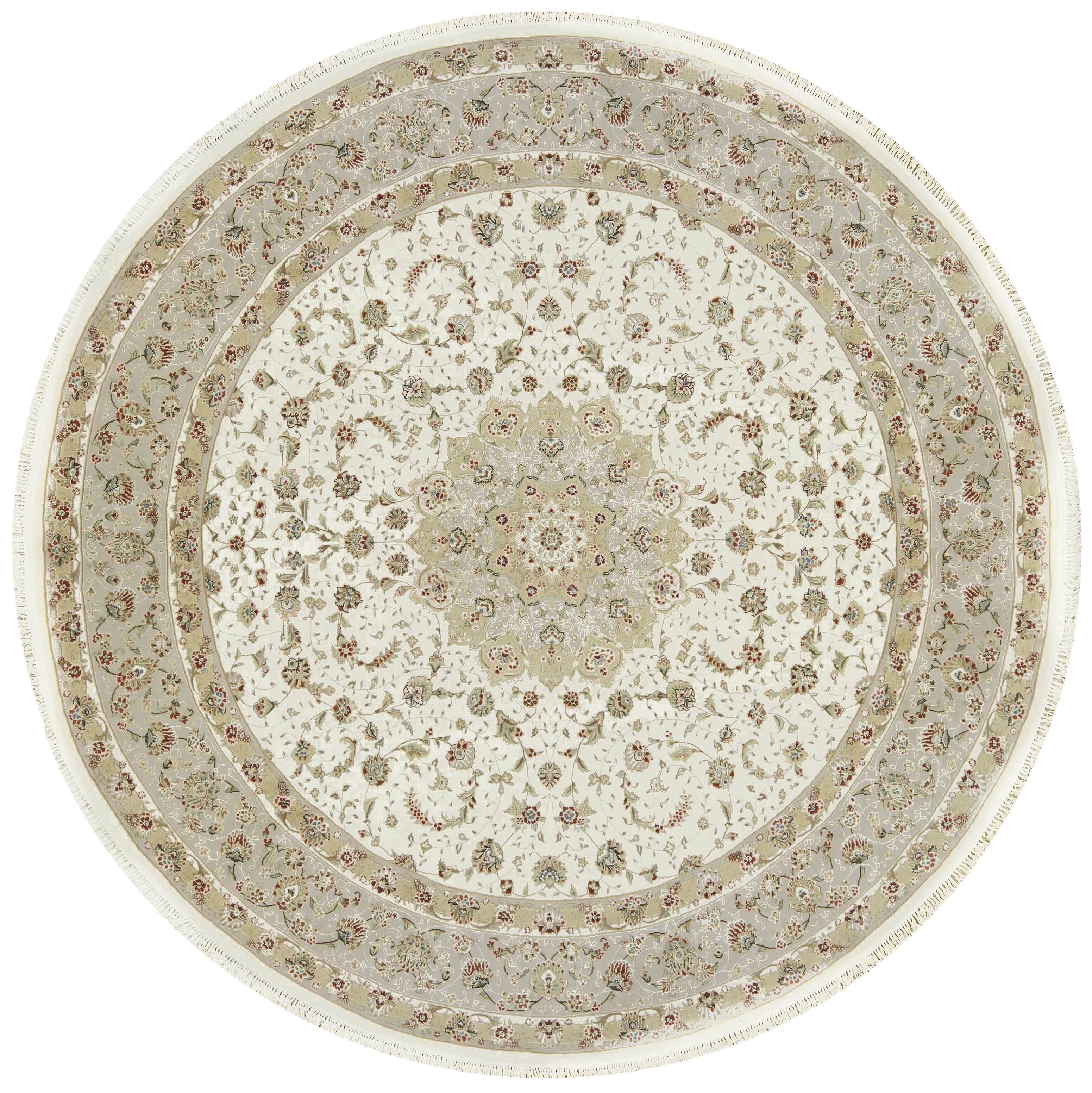 Picture of: Bokara Rug Co Inc One Of A Kind Elegance Hand Knotted Farmhouse Country Beige Ivory 10 Round Area Rug Wayfair