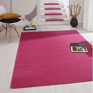 Fancy Dark Pink Stair Tread (Set of 15) by Hanse Home