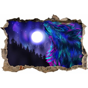 Elegant Wolf Under The Bright Moon Wall Sticker By East Urban Home