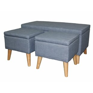 Latitude Run Kerri 3 Piece Upholstered Storage Bench