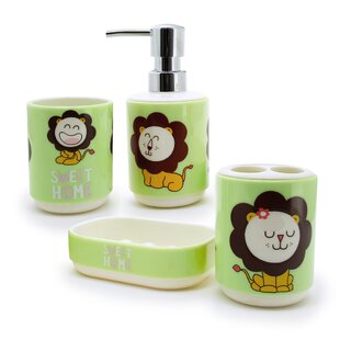 Immanuel Kid's Lion 4-Piece Bathroom Accessory Set with Gift Box