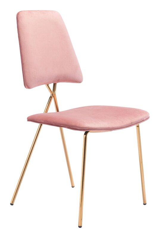 Everly Quinn Virginis Velvet Upholstered Side Chair (Set of 2)