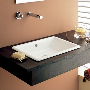 Scarabeo by Nameeks Gaia Ceramic Rectangular Drop-In Bathroom Sink with Overflow