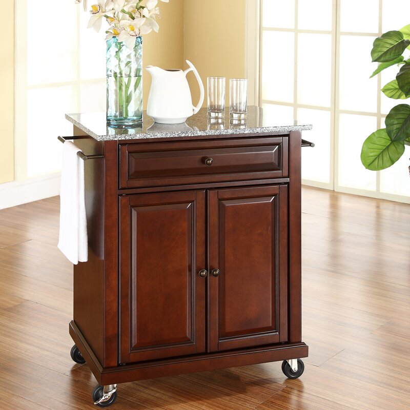 Beautiful Detweiler Solid Granite Top Portable Kitchen Cart/Island