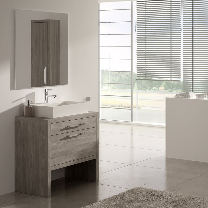 "Custom Bathroom Vanities Montreal hispania home montreal 24"" single solid surface sink bathroom"
