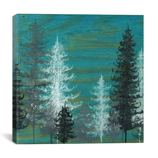 Teal Trees by Emily Magone Print Painting on Canvas | Green Home wall art decor