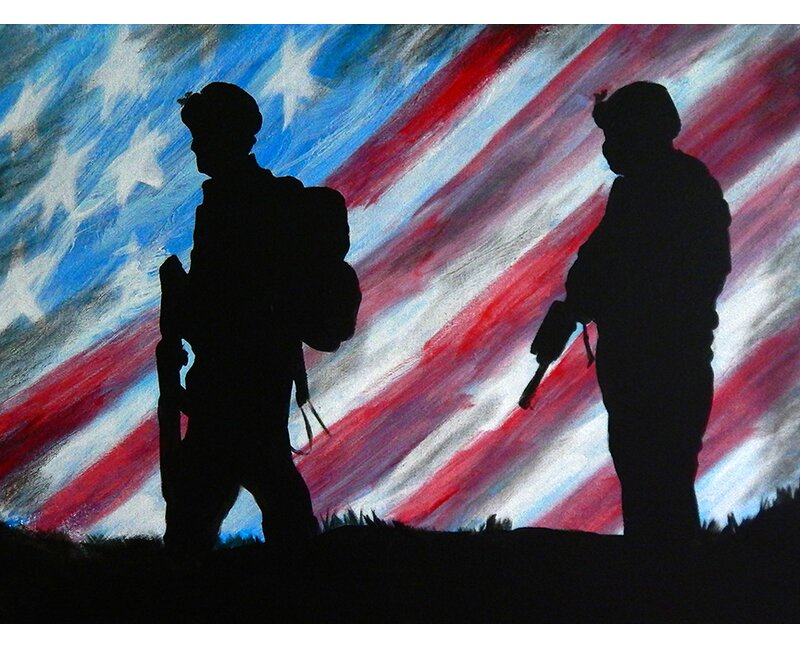 'Patriot Soldiers Tribute' Acrylic Painting Print