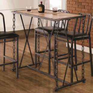 Williston Forge Mccowan Rustic Industrial Metal Chain Link Pub Table