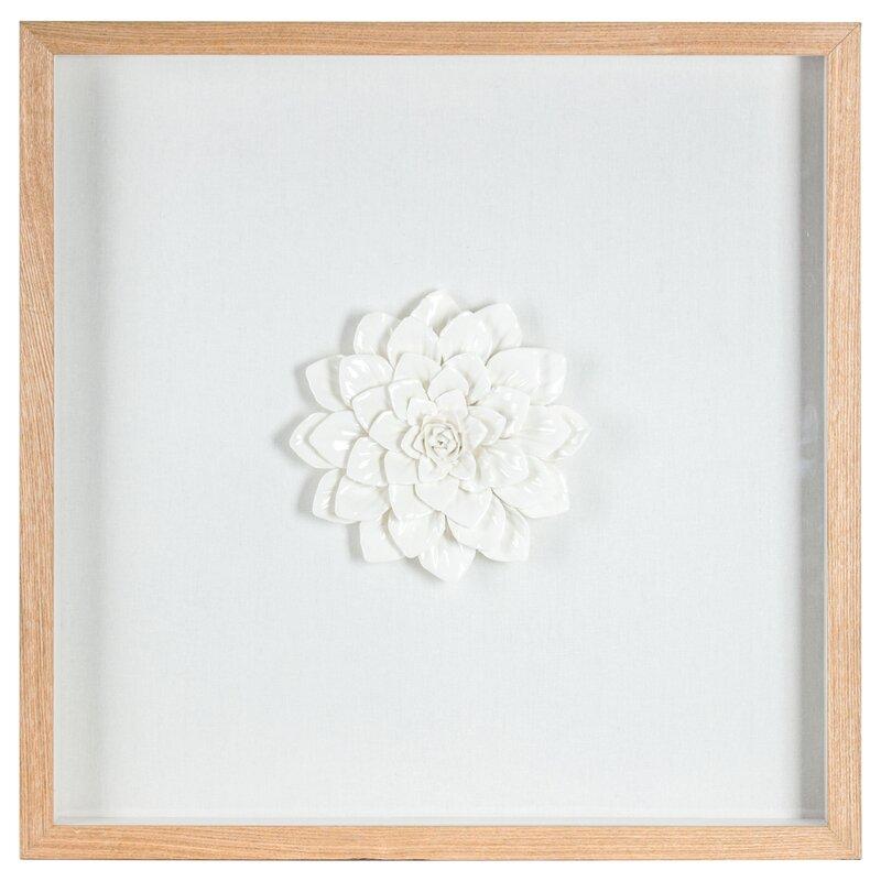 Bungalow Rose Ceramic Flower Sculpture Framed Wall Art | Wayfair