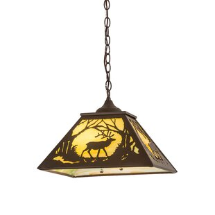Meyda Tiffany Greenbriar Oak Elk At Dawn 2-Light Dome Pendant