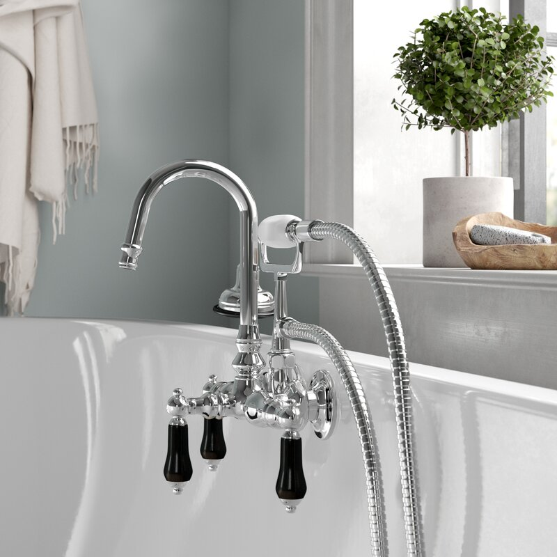 Duchess Triple Handle Wall Mounted Clawfoot Tub Faucet With Diverter And Handshower Reviews Birch Lane