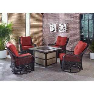 Luisa 5-Piece Outdoor Patio Conversation Fire Pit Square Coffee Table Set with Autumn Berry Swivel Gliders and Liquid Propane Fire Pit by Longshore Tides