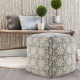 Sigala 20'' Square Floral Pouf Ottoman by Bungalow Rose