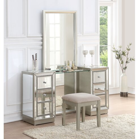 Best Willa Arlo Interiors Primm Storage Vanity Set with Mirror | Wayfair CU49