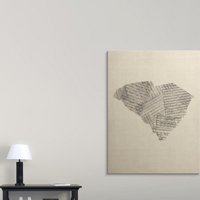 Winston Porter Old Sheet Music Map Of South Carolina By Michael Tompsett Graphic Art Print Wayfair
