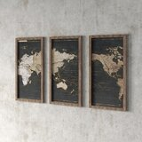'World Map in Gold and Gray' - 3 Piece Picture Framed Graphic Art Print Set on Acrylic