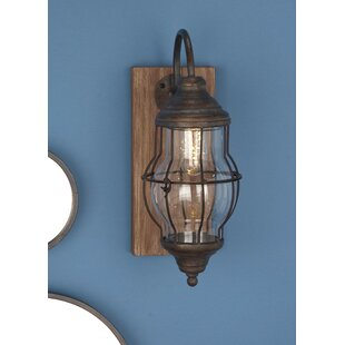 Wood Metal Gl 1 Light Led Battery Operated Armed Sconce
