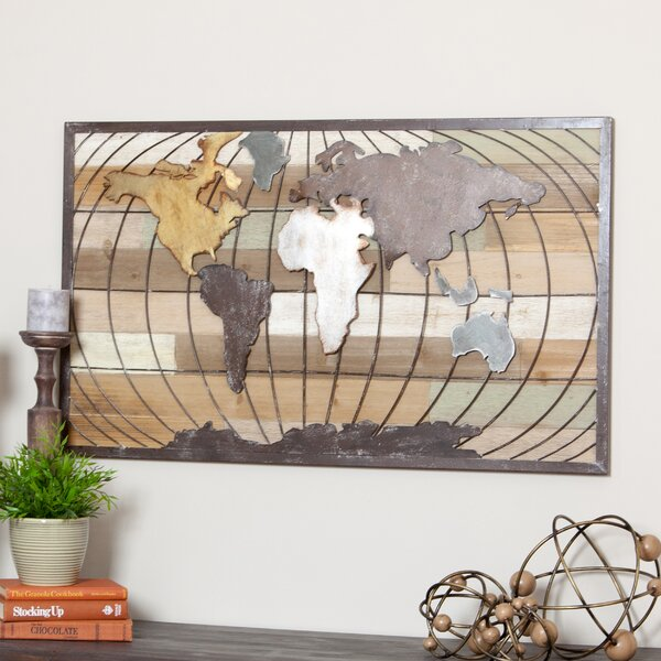 Steel world map wall decor wayfair gumiabroncs Gallery