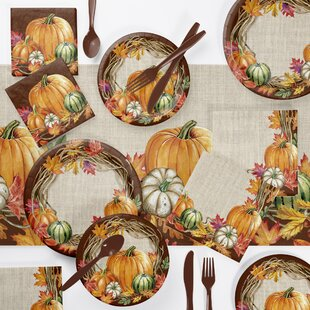 Maja Wreath Thanksgiving 73 Piece Party Supplies Kit