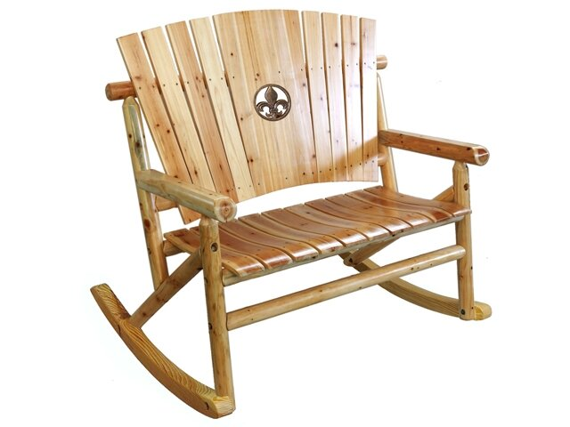 Aspen Fleur De Lis Medallion Double Rocking Chair II