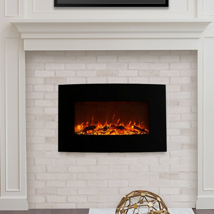 Northwest Curved Wall Mounted Electric Fireplace Reviews Wayfair Ca