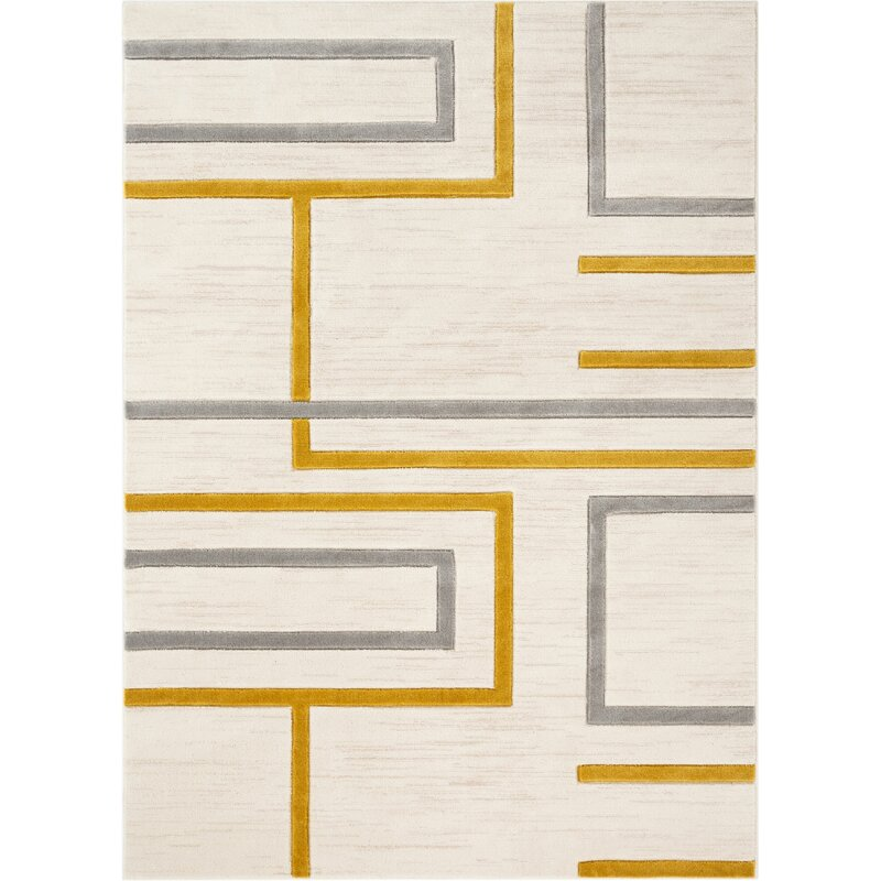 Well Woven Good Vibes Fiona Modern Geometric Lines Gold Ivory Gray