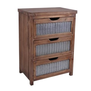 Cheungs Wooden 3 Drawer with Galvanized Accent Chest