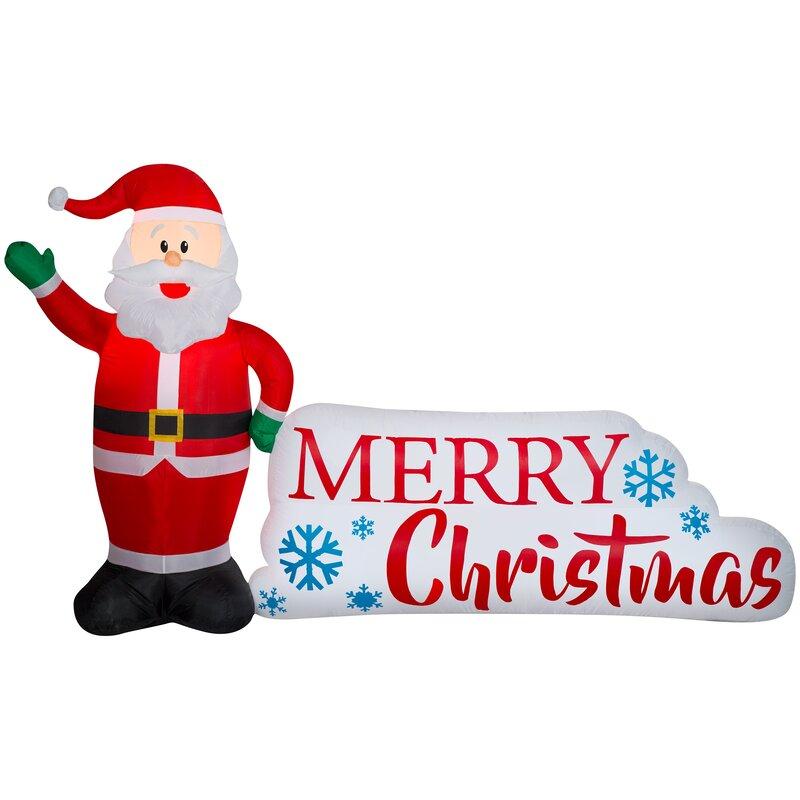 the holiday aisle santa and merry christmas sign scene inflatable wayfair santa and merry christmas sign scene inflatable