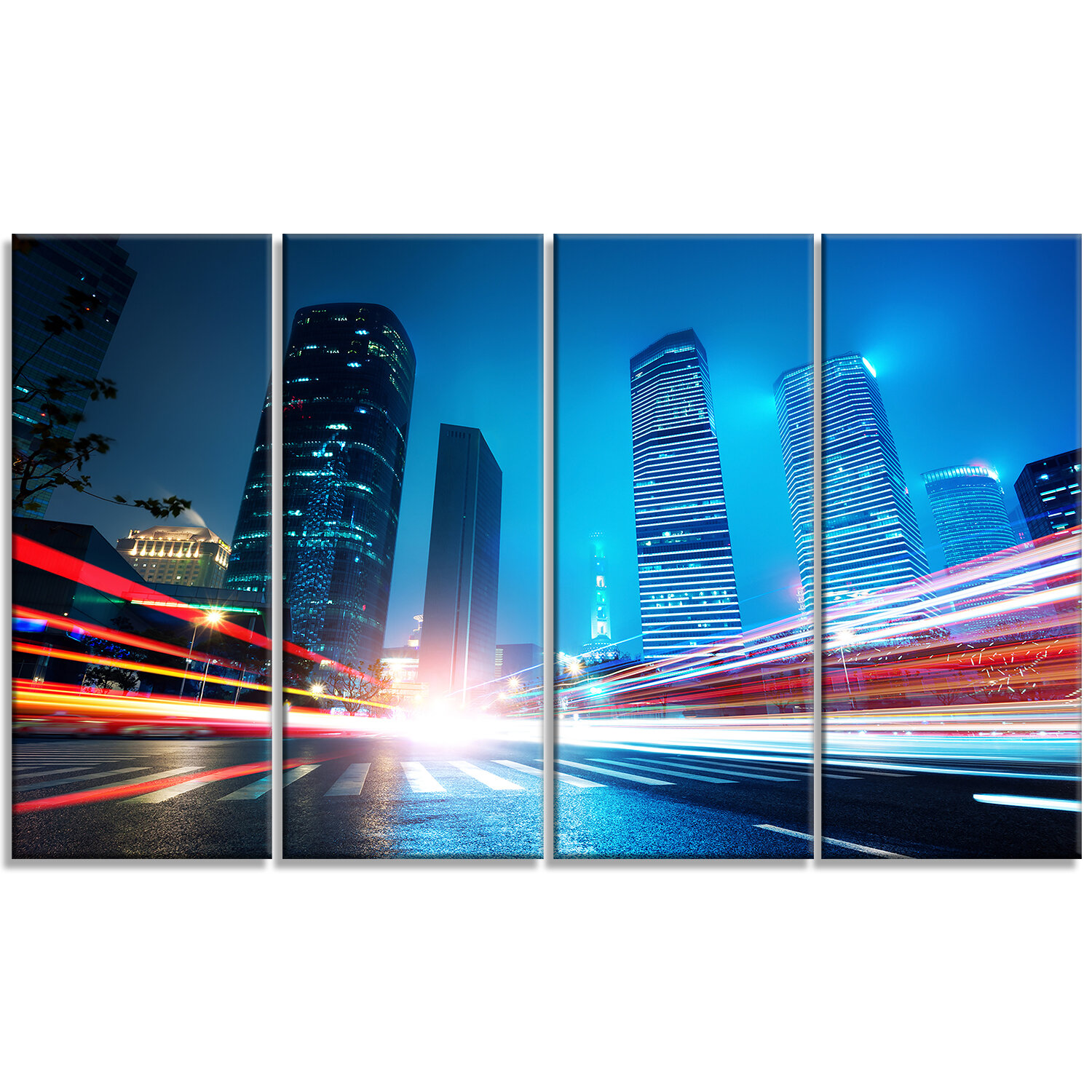 Designart Shanghai Lujiazui Finance At Night 4 Piece Graphic Art On Wrapped Canvas Set Wayfair
