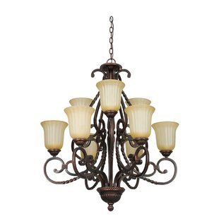 Patmos 9-Light Shaded Chandelier by Fleur De Lis Living