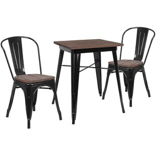 Malave 3 Piece Solid Wood Dining Set