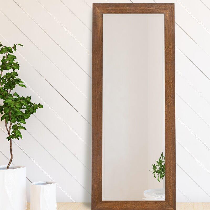 Red Barrel Studio Everaldo Woodgrain Framed Beveled Full Length Mirror Reviews Wayfair