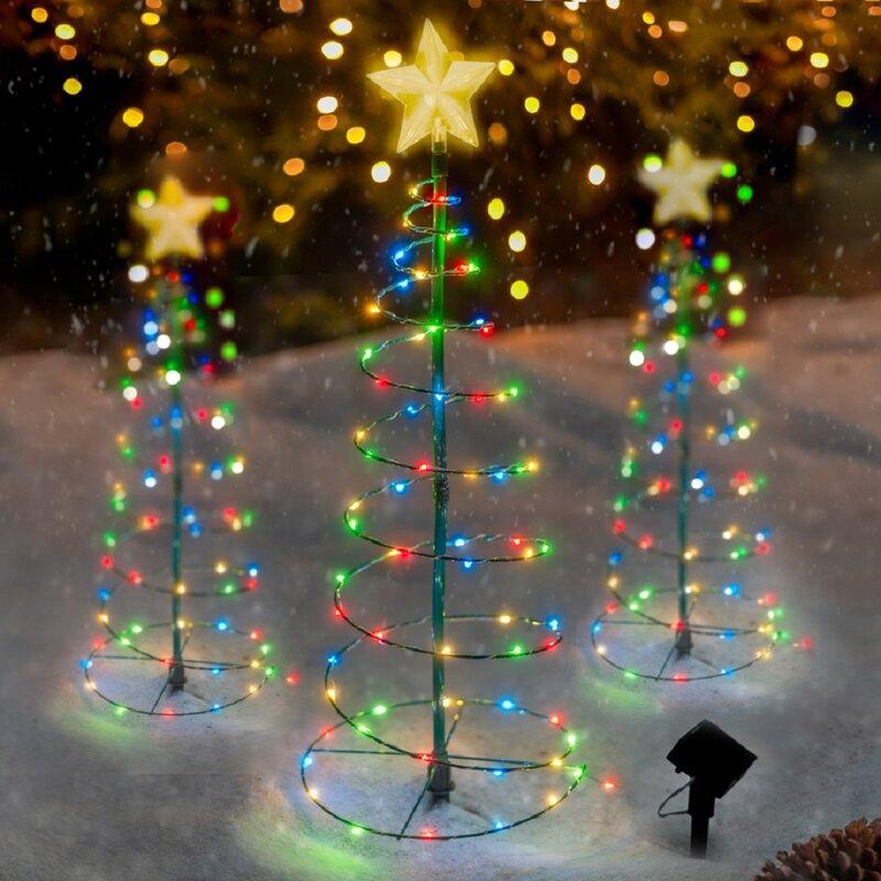 LED Flashing Crystasl Snowflake Christmas Tree Hanging Decorations