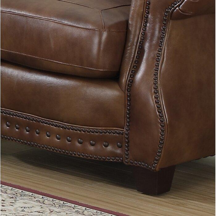Surprising Beglin Cognac Leather Loveseat Machost Co Dining Chair Design Ideas Machostcouk