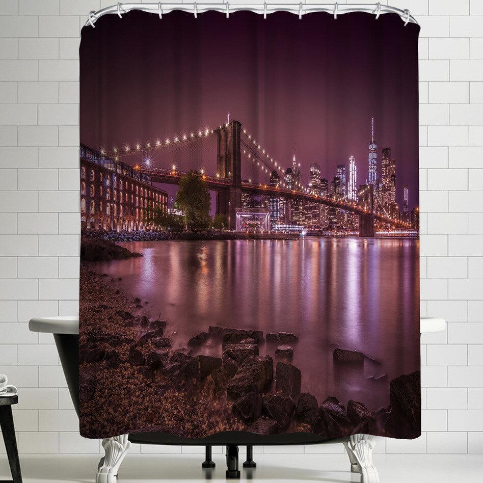 East Urban Home Melanie Viola New York City Nightly Stroll Along The River Bank Single Shower Curtain Wayfair